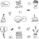 Funny doodle vector art birthday Royalty Free Stock Image