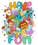 Funny doodle vector illustration, have fun. Cute cartoon characters in color vector illustration