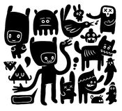 Funny doodles. Black and white funny doodles collection Stock Images
