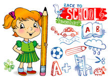 Funny doodles - Back to school Stock Image
