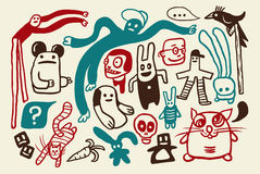 Funny doodles set. A funny doodles collection illustration Royalty Free Stock Image