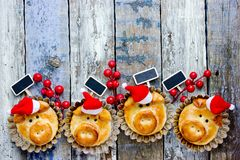 Funny pigs in santa hat for new year 2019. Funny dough pigs in santa hat for new year 2019 royalty free stock images