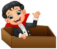 Funny dracula in a coffin while waving hand isolated on white background Stock Photos