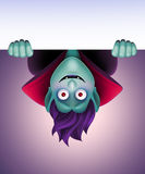 Funny Dracula holding blank banner, vampire, Halloween clip art Royalty Free Stock Images