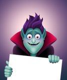Funny Dracula holding blank banner, vampire, Halloween clip art Stock Photo