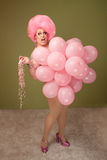 Funny Drag Queen in Pink Balloons Royalty Free Stock Image