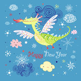 Funny dragon. Bright greeting card with a green dragon on a blue sky with snowflakes Stock Photos