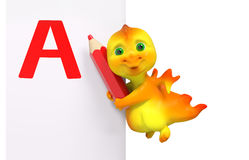 Funny dragon character with red pencil and A isolated 3d renderi Royalty Free Stock Photos