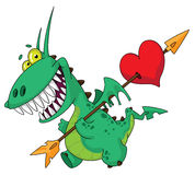 Funny dragon with heart. Illustration of a funny dragon with heart Stock Photos
