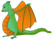 Funny dragon isolated in white. Cute dragon in green and orange color, isolated in white Stock Image