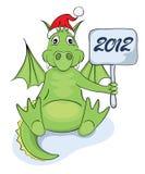 Funny dragon in Santa hat. Illustration -- Funny dragon in Santa hat stock illustration