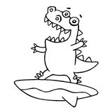 Funny dragon surfer caught a wave. Vector illustration. Royalty Free Stock Image