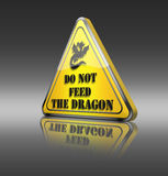 Funny dragon warning sign. Royalty Free Stock Images
