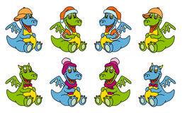 Funny dragons. Set. Smiling monster.Vector illustration Royalty Free Stock Images