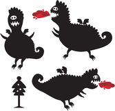Funny dragons silhouette. Funny dragons silhouette for New Year design. Vector icon set of monsters Stock Photos