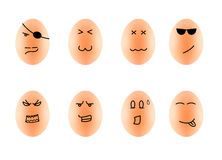Funny Drawing Faces on Eggs isolate on white with clip Stock Images