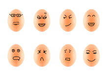 Funny Drawing Faces on Eggs isolate on white with clip Stock Photography
