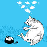 Funny dreaming cat. Series of comic cats Royalty Free Stock Image