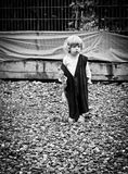 Funny dressed child. Portrait of a funny dressed child Royalty Free Stock Images