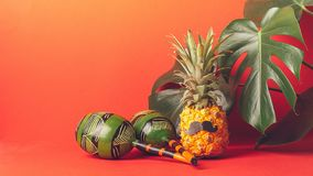 Funny dressed pineapple with a black mustache, maracas leaves of a green plant trendy coral background. Horizontal frame. Funny dressed pineapple with a black royalty free stock image