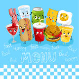 Funny drink and food characters cartoon  Stock Photo
