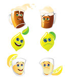 Funny drinks. Happy and sad alcohol drinks and lemon Royalty Free Stock Image