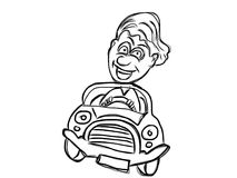 Funny driver coloring pages Stock Photography