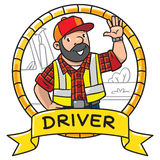Funny driver or worker. Emblem. Emblem with funny driver or worker. A man dressed in a plaid shirt, vest with reflective stripes and jeans Profession series stock illustration