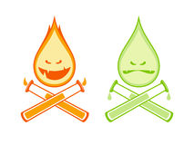 Funny drops fire and acid with test tubes. Funny drops signs fire and acid with test tubes Stock Images