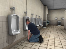 Funny Drunk Passed Out, Urinal. A funny drunk man was drinking and drank too much. He is passed out in a public restroom urinal where he is puking. Yuck royalty free stock photos