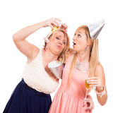 Funny drunken girls celebrate Royalty Free Stock Photos