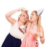 Funny drunken girls celebrate Royalty Free Stock Photos
