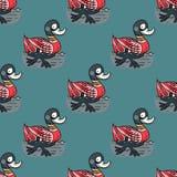Funny duck swim seamless pattern. Original design for print or digital media Stock Photos