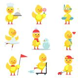 Funny duckling characters set, cute yellow duck  Royalty Free Stock Photos
