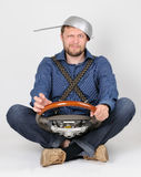 The funny dude with a wheel stock photography