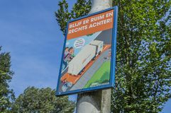 Funny Dutch Sign Be Aware Of The Dead Angle Of A Truck At Amsterdam The Netherlands 2018.  stock image