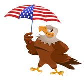 Funny eagle with American flag umbrella Royalty Free Stock Images