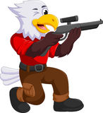 Funny eagle cartoon shooting Stock Photos