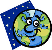 Funny earth planet cartoon illustration Stock Images