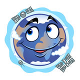 Funny Earth. Smiling cartoon live Earth with three satellite Royalty Free Stock Photo