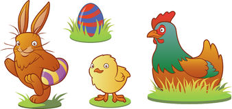 Funny easter animals set Stock Image