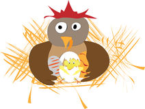 Funny easter applique with hen, eggs and chicken Stock Images