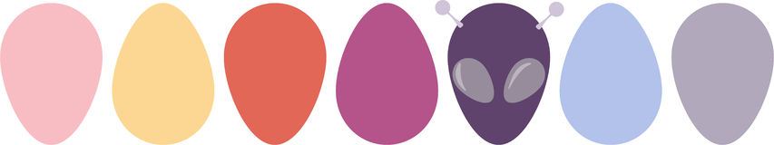 Funny Easter background with eggs and aliens Stock Photos