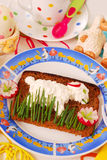Funny easter breakfast for child Stock Photos