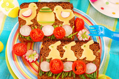 Funny easter breakfast for child Stock Photo