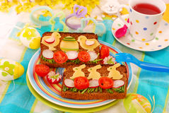Funny easter breakfast for child stock images