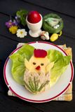 Funny easter breakfast for children. Sandwich with a chichen  decorate with bell pepper and green onion Stock Photo