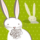 Funny Easter bunnies. Vector greeting card royalty free illustration
