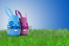 Funny Easter bunny couple on grass Royalty Free Stock Images