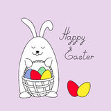 Funny easter bunny keeping a basket with eggs. Easter bunny holding a basket with easter eggs and handwritten headline `Happy Easter`. Illustration for greeting Stock Image
